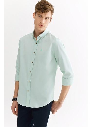 Avva Erkek  Armürlü Düğmeli Yaka Slim Gömlek A01S2301 Yeşil
